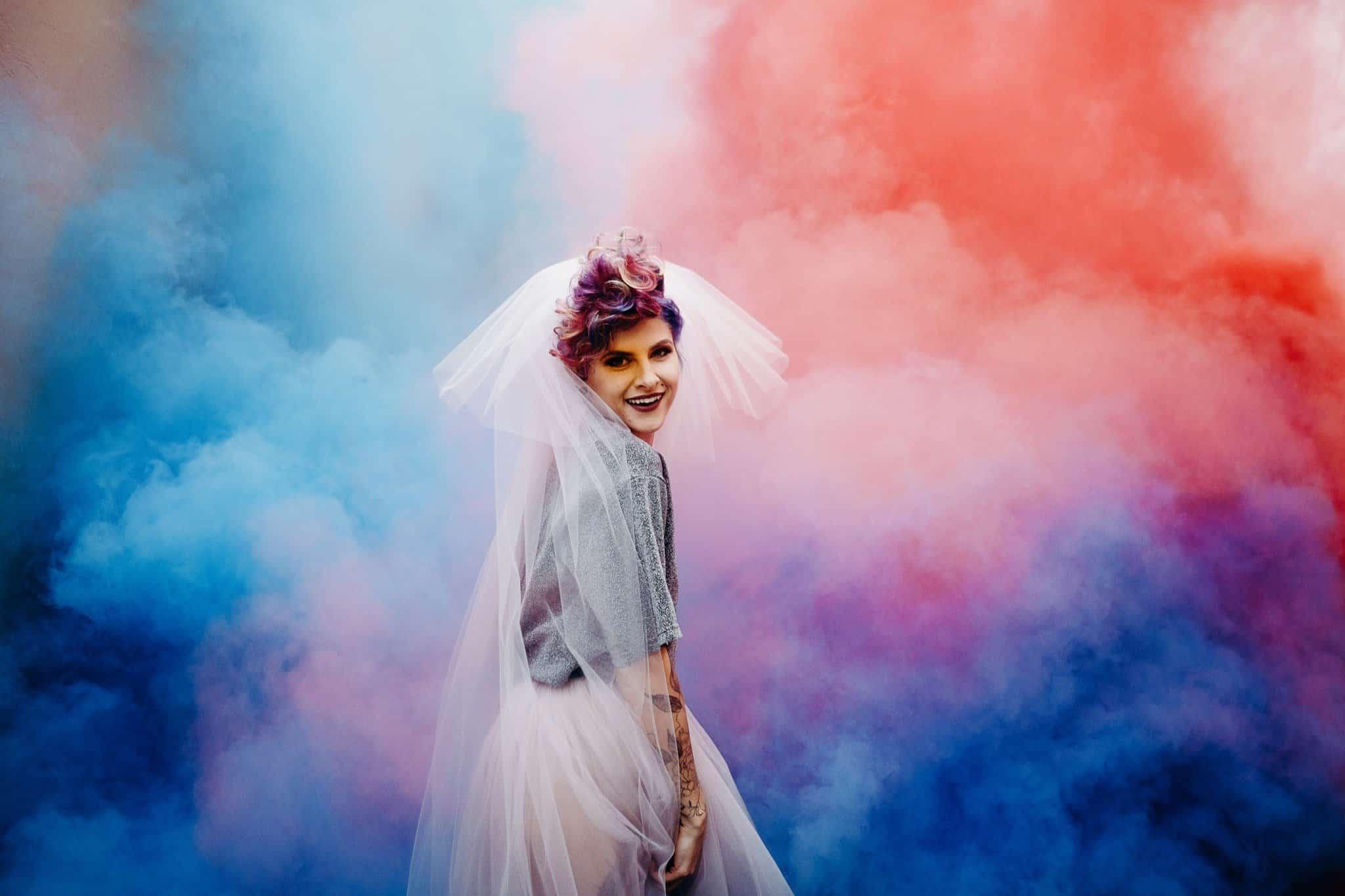 Creative Bridal Portrait in smoke