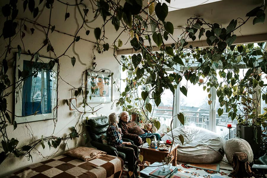 An elderly couple in their apartment