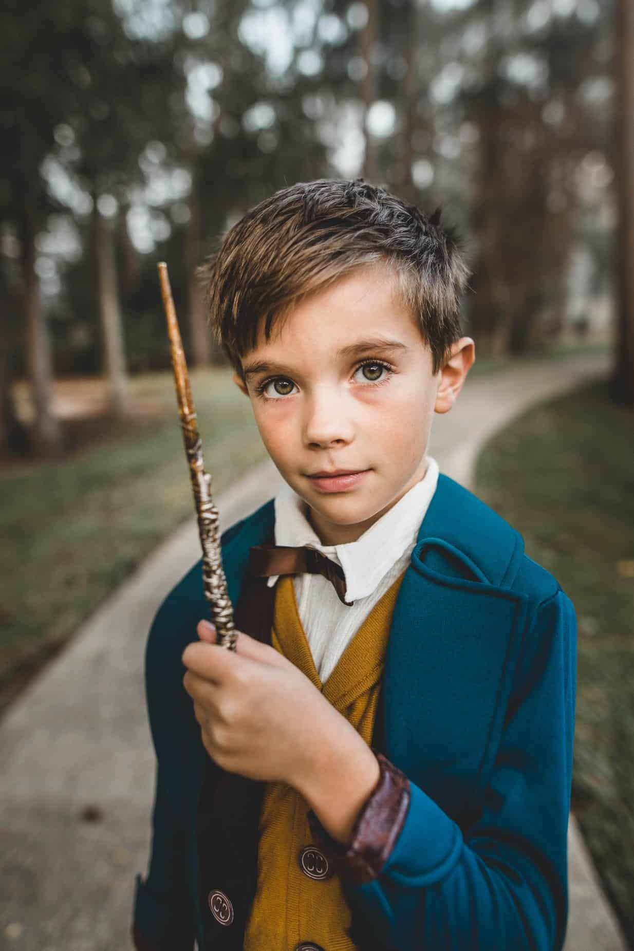 A boy dressed up as Harry Potter