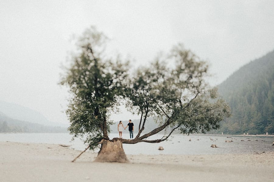 Tilt Shift photo of a man and a woman standing on a tree at a lake