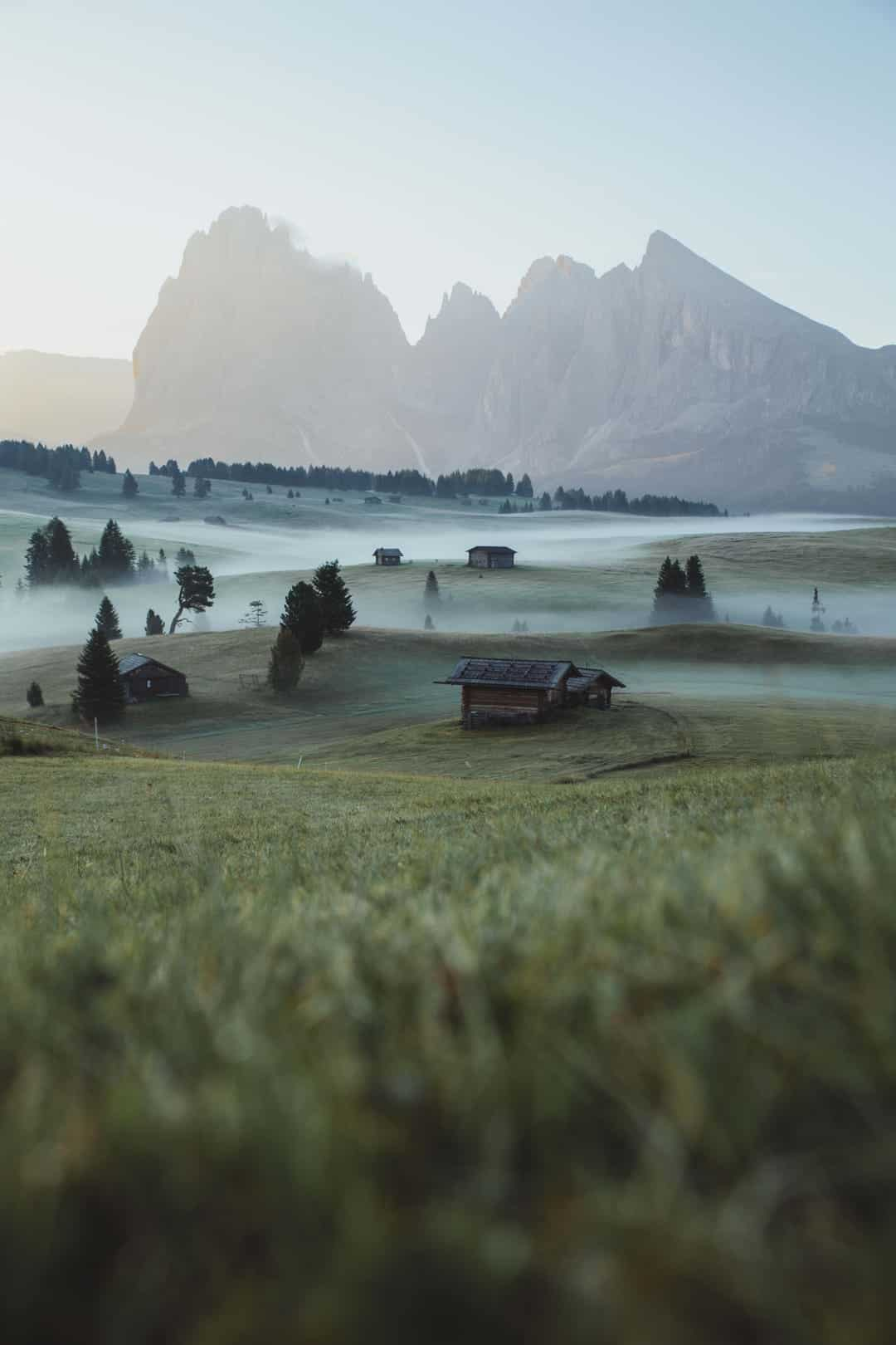 Fog hovering over grass between cabins and trees in front of a mountain