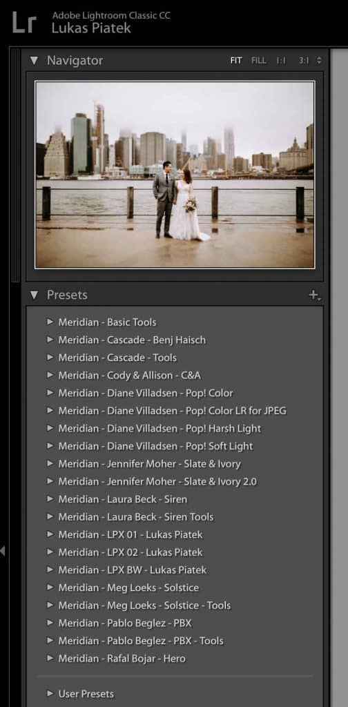 Presets Tab in Lightroom