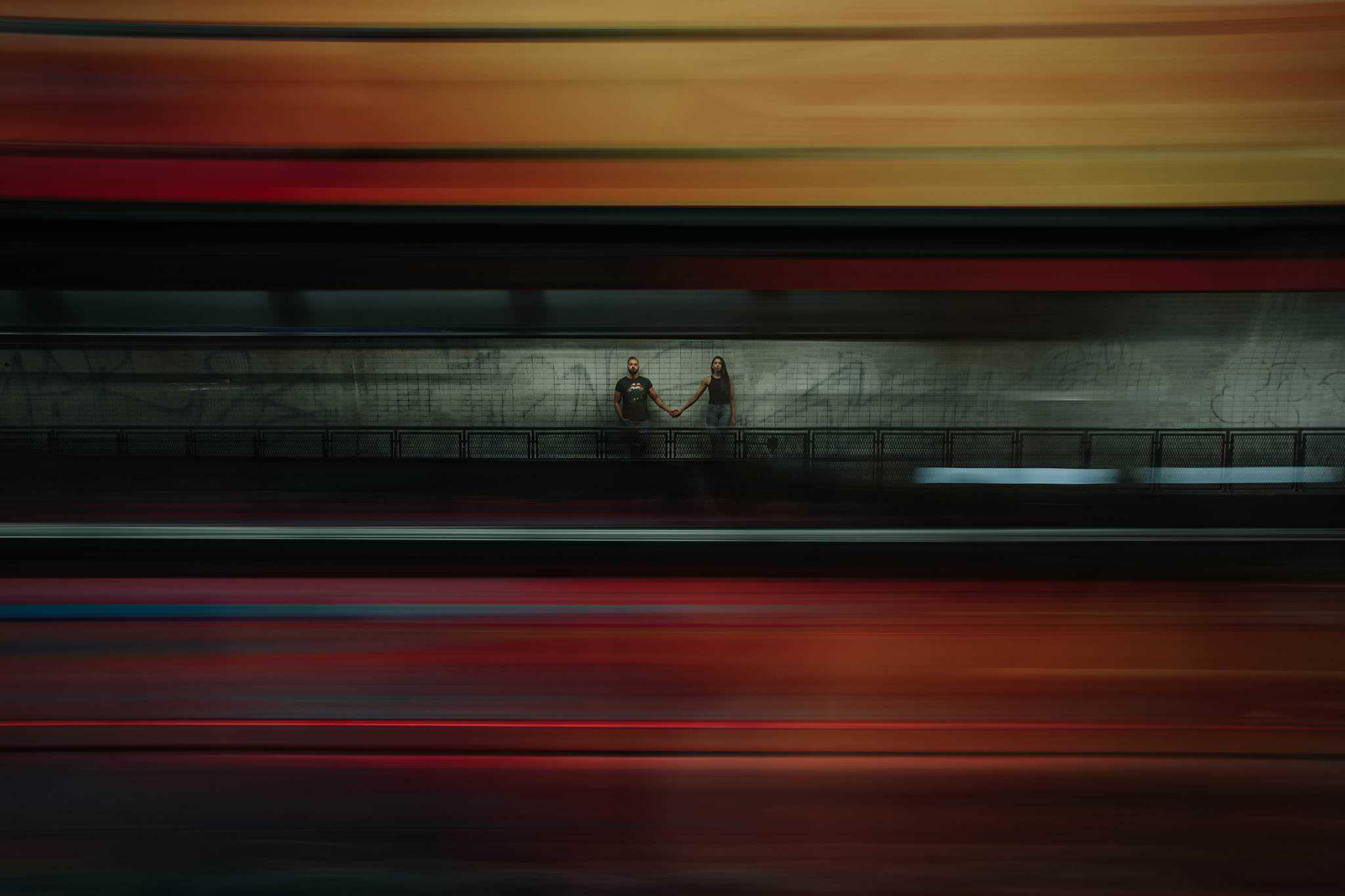 Long Exposure Photography of a couple in the subway
