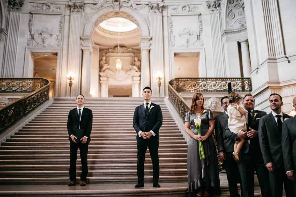 A groom waiting for his bride to arrive in the SF City Hall