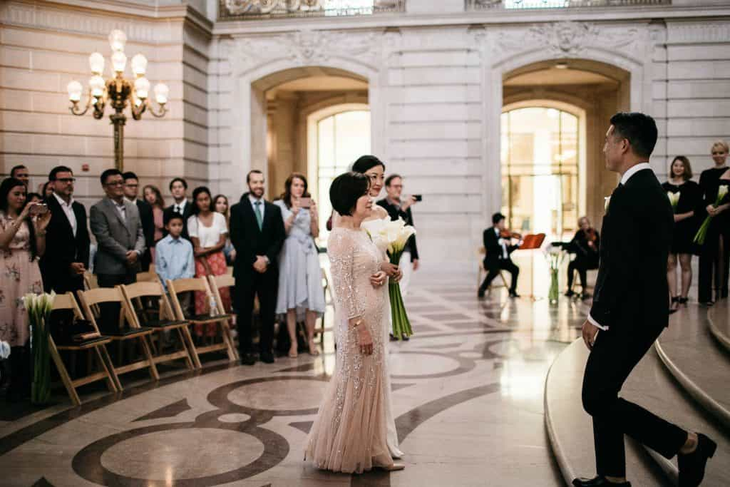 Bride and groom see each other for the first time at ceremony