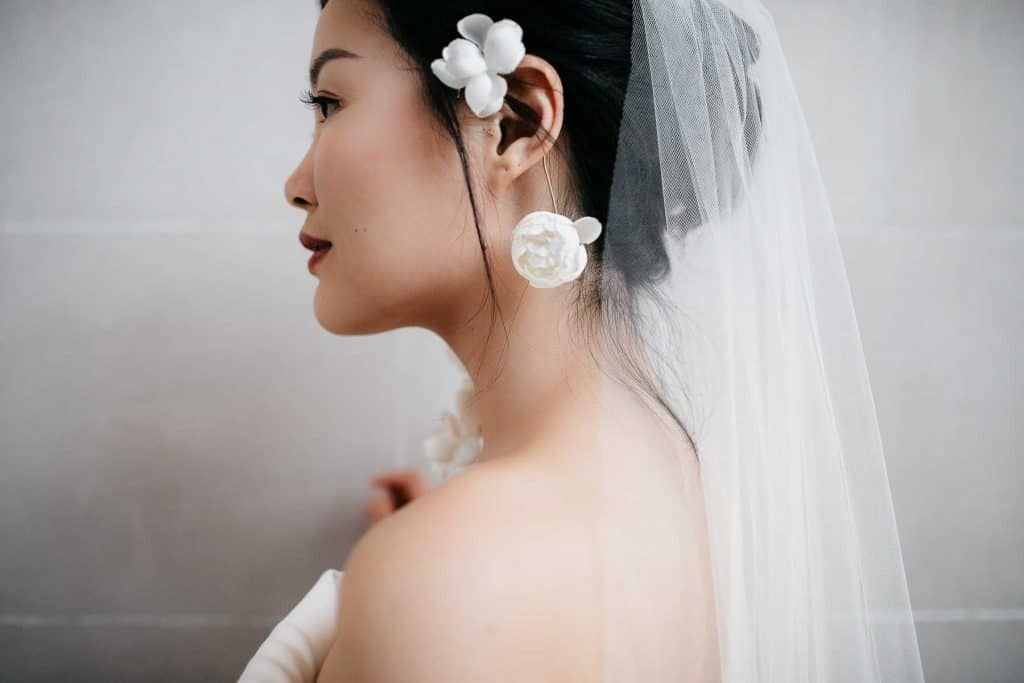 Close up of a bride from the side