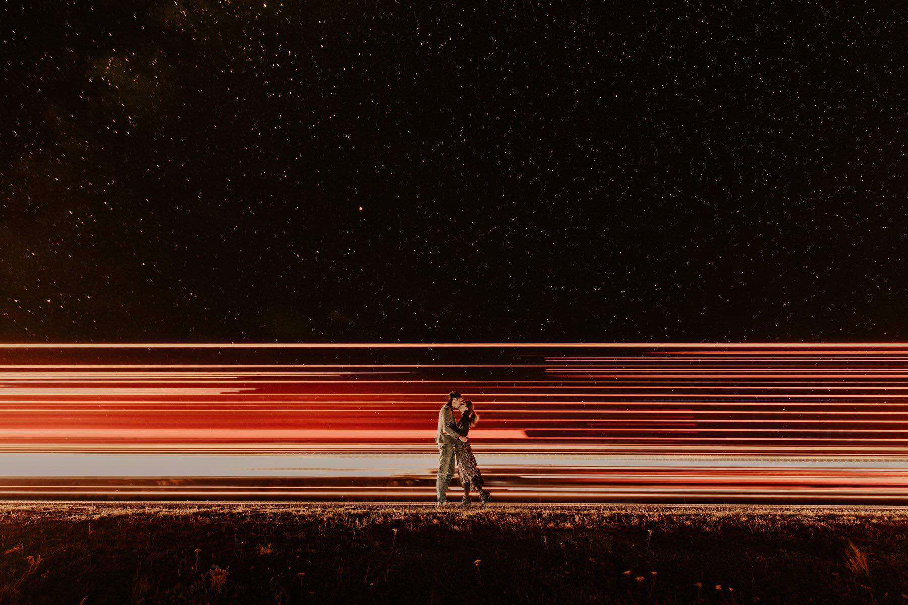 Long exposure photography of a couple at night