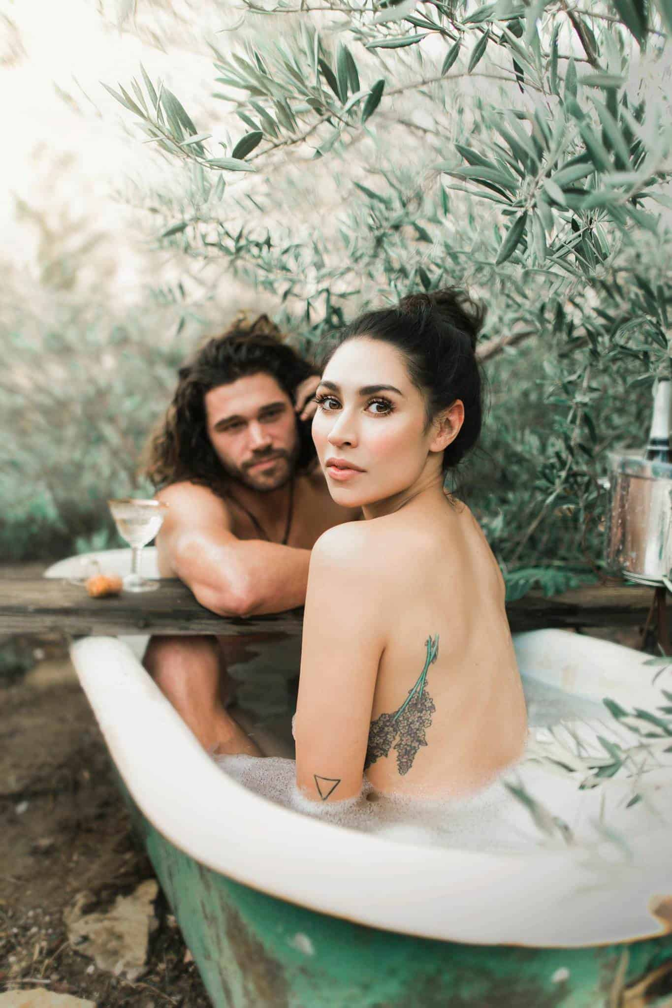 A beautiful couple in a bathtub