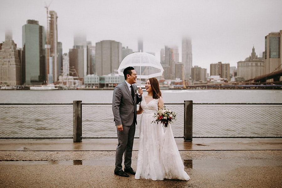 couple standing under an umbrella in New York