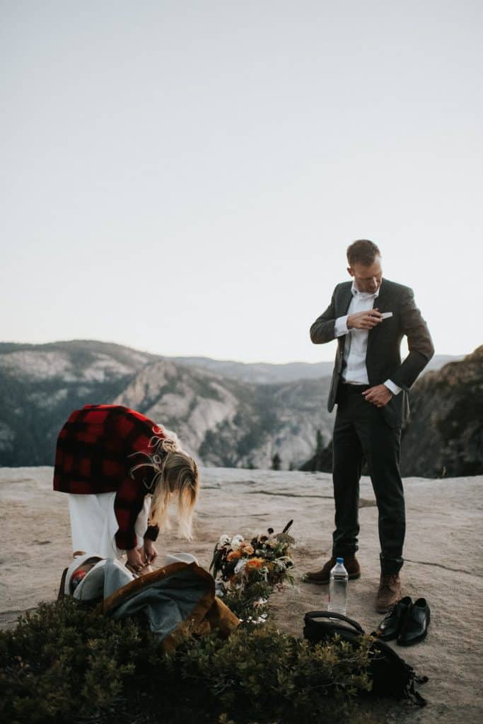 dressing up for a wedding in yosemite
