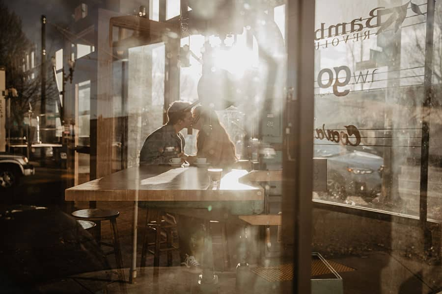 Couple Poses in a coffee shop