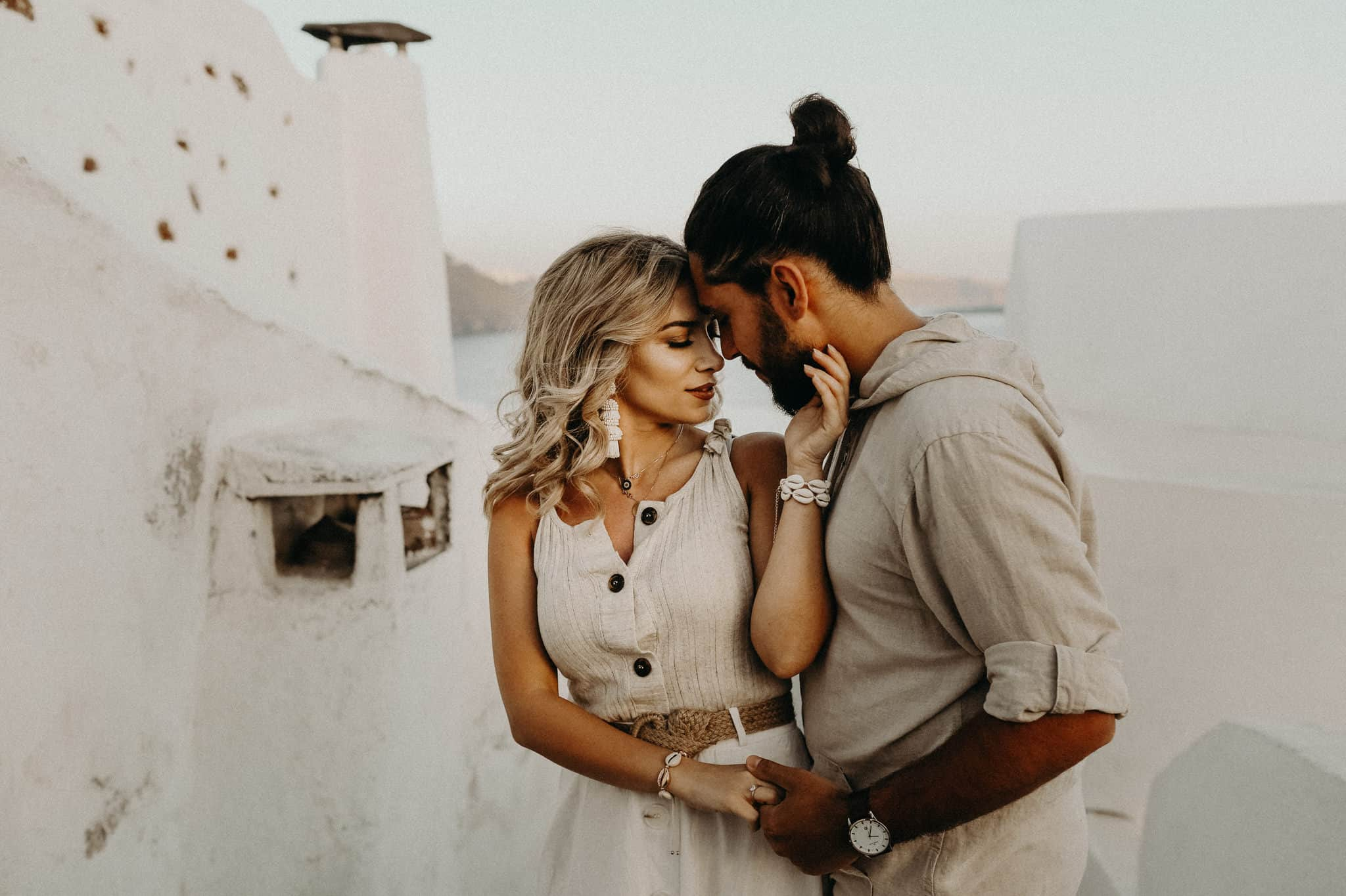 Couple Poses in Santorini