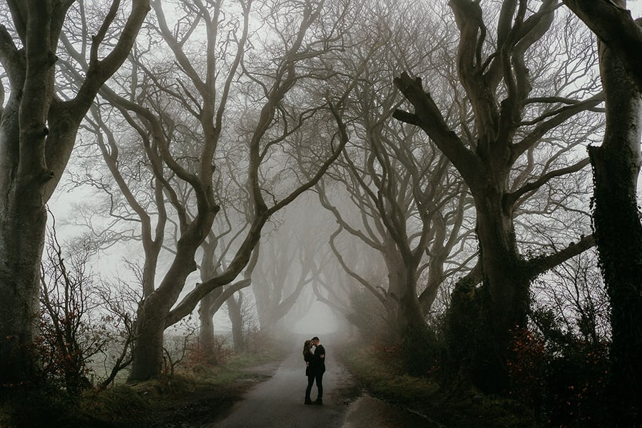 Couple Poses in the middle of the dark hedges
