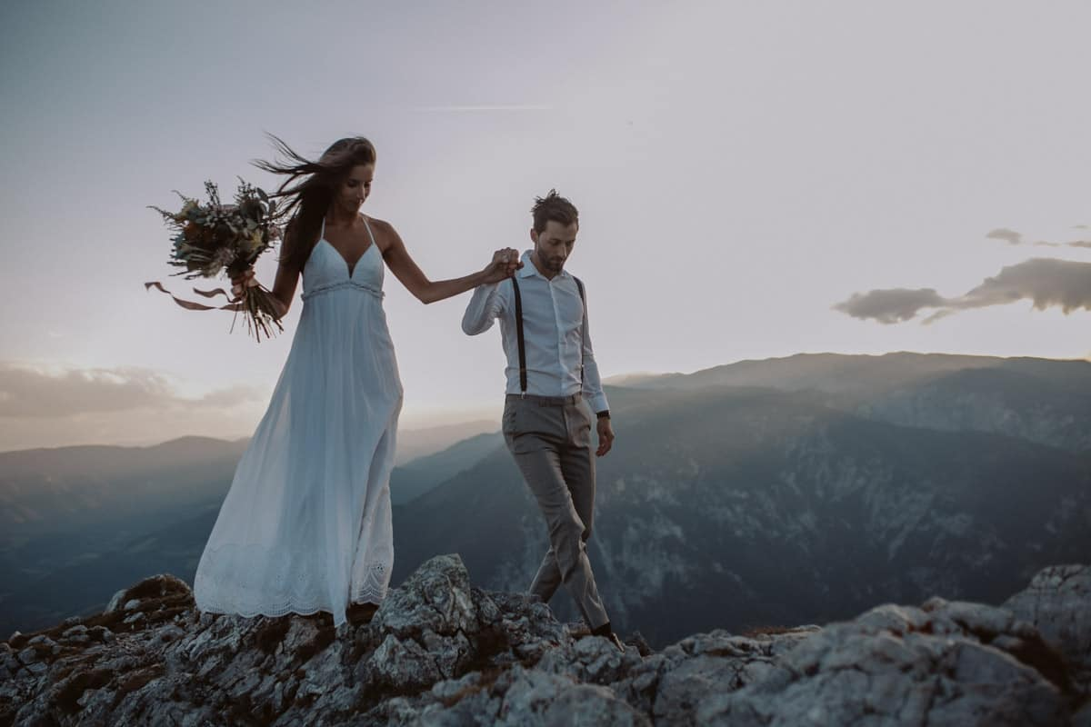 A Windy Sunset Elopement In The Austrian Alps