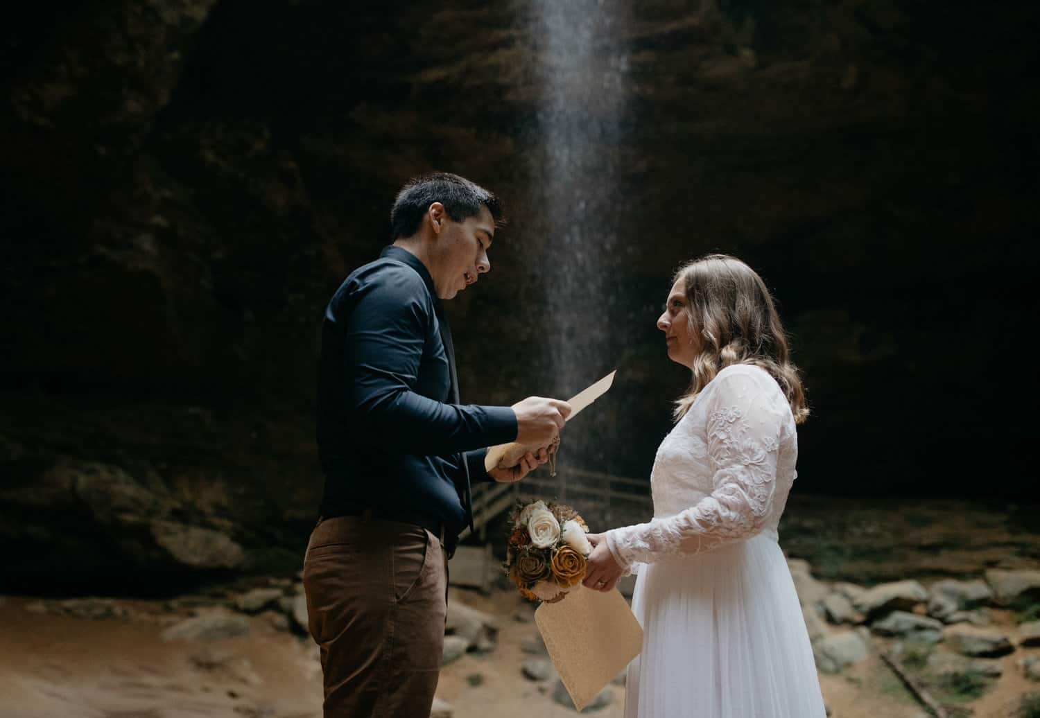 Wonderful Waterfall Elopement At The Ash Cave