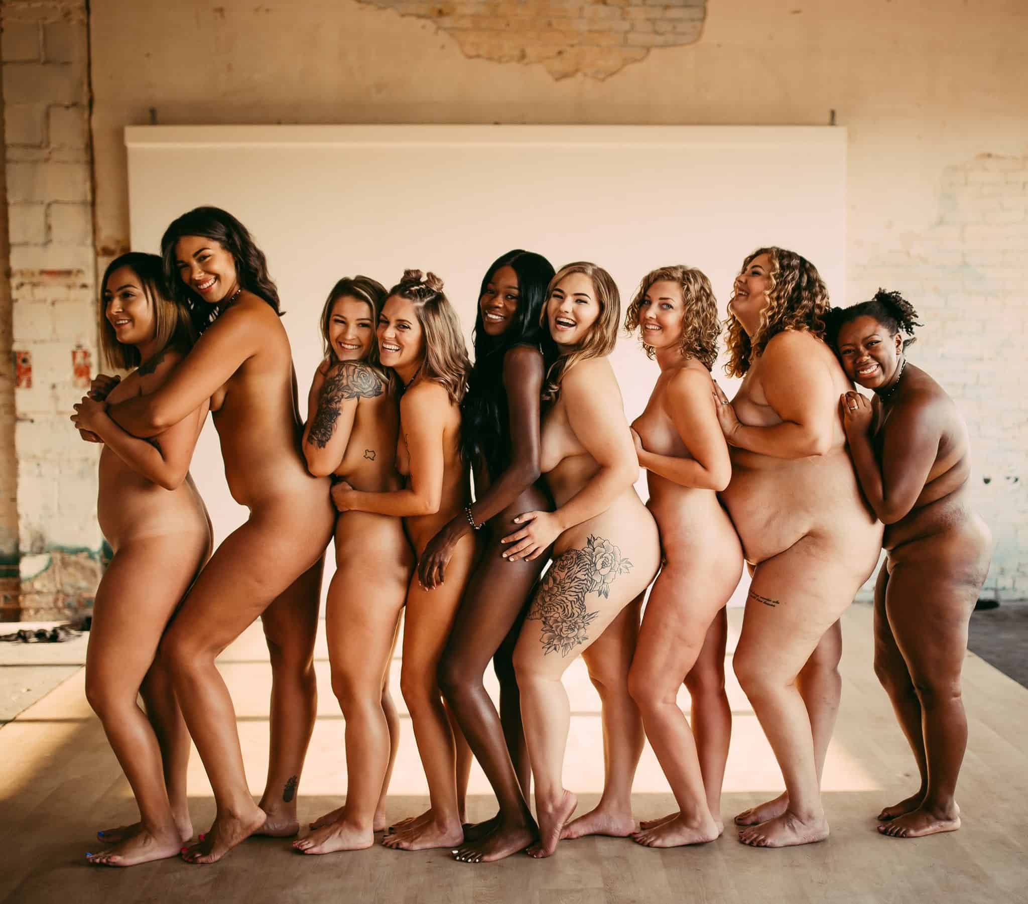 A group of naked women in all sizes and shapes