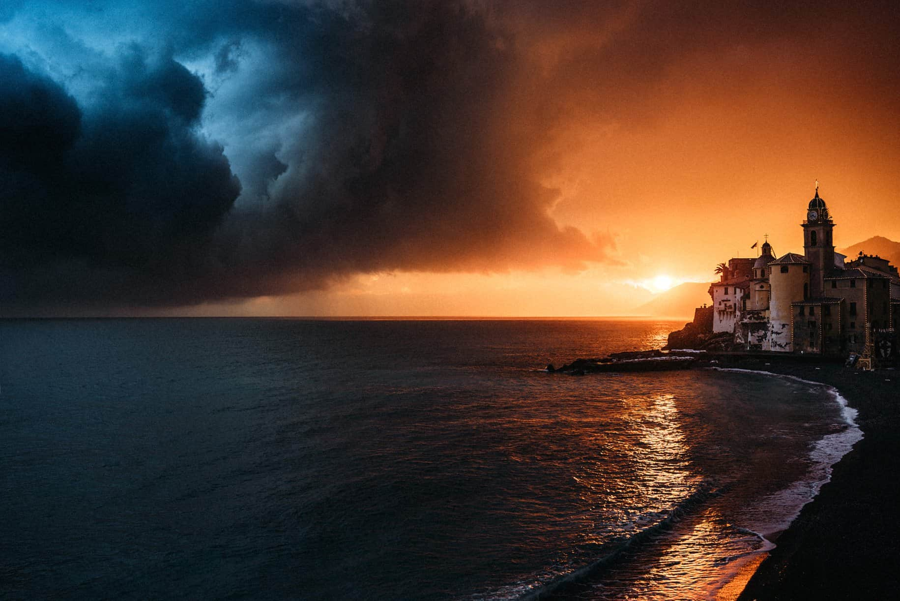 Amazing sunset on the Italian coast