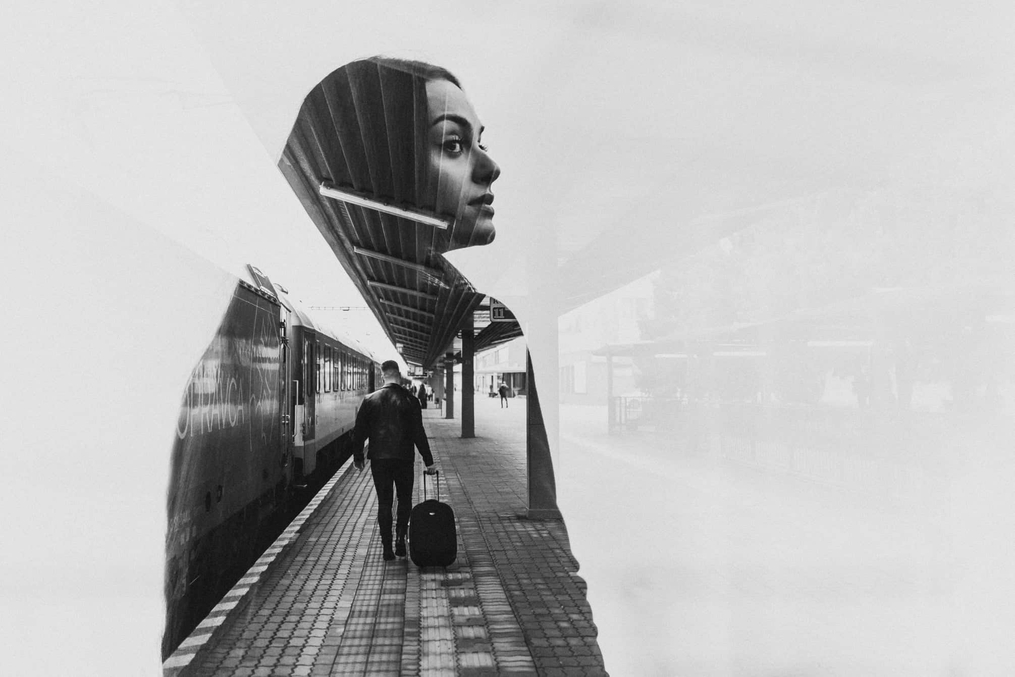 a black and white double exposure of a man and woman is a sort of creative photography
