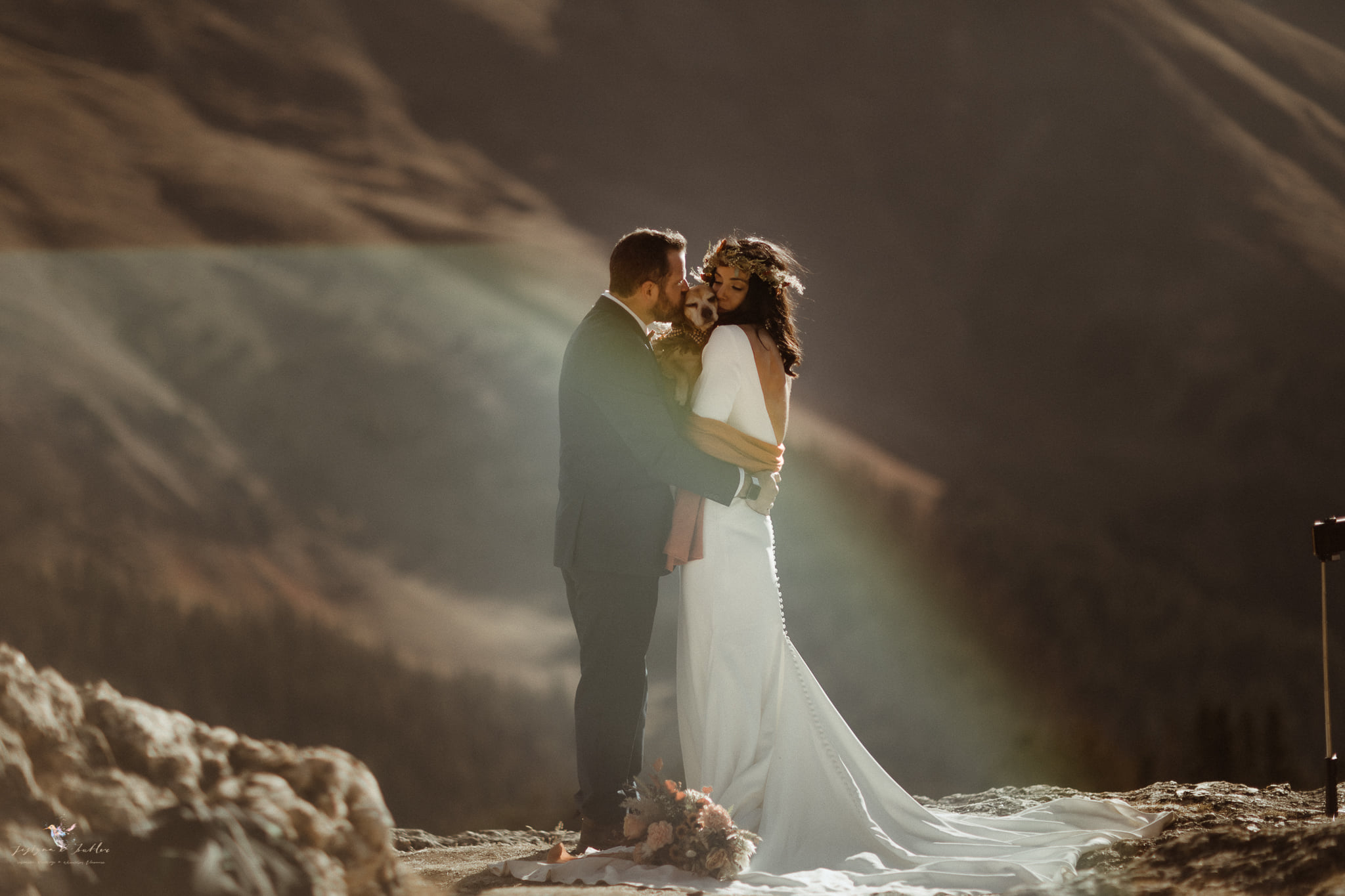 A wedding couple is holding each other and their dog and standing on a mountain top.