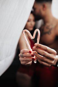 Christmas boudoir idea with candy canes.