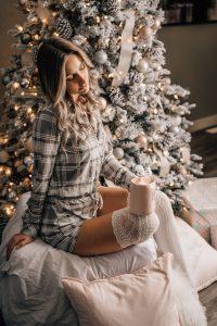 Christmas Boudoir idea for posing with sexy Christmas lights.