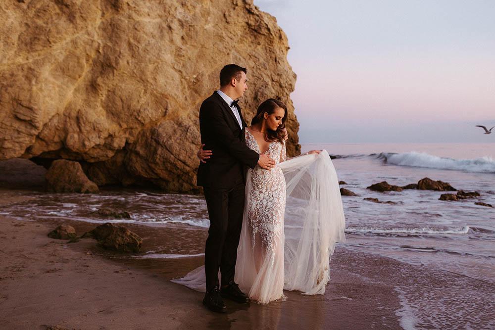 Elopement Couple at El Matador State Beach at Sunset