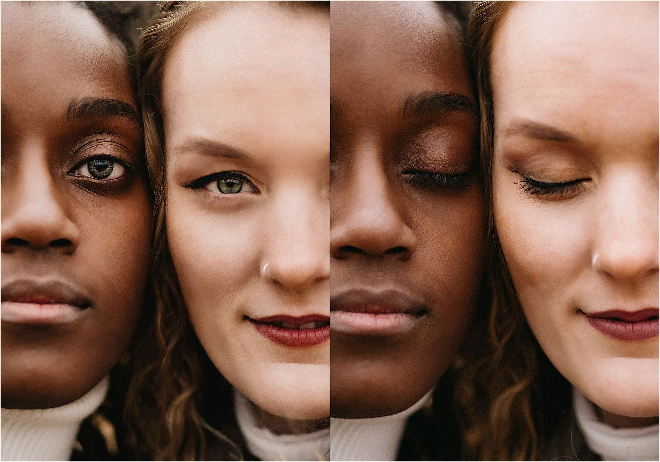 a creative portrait of a lesbian couple where you only see half of their faces
