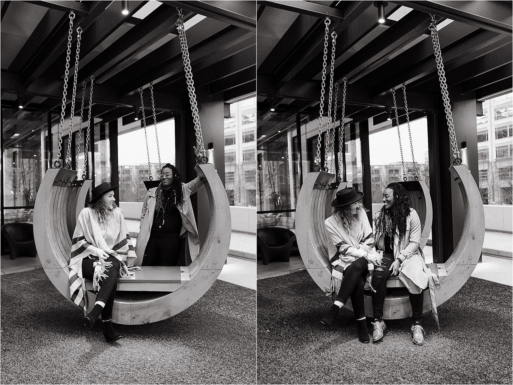 a couple is having fun on a wooden swing