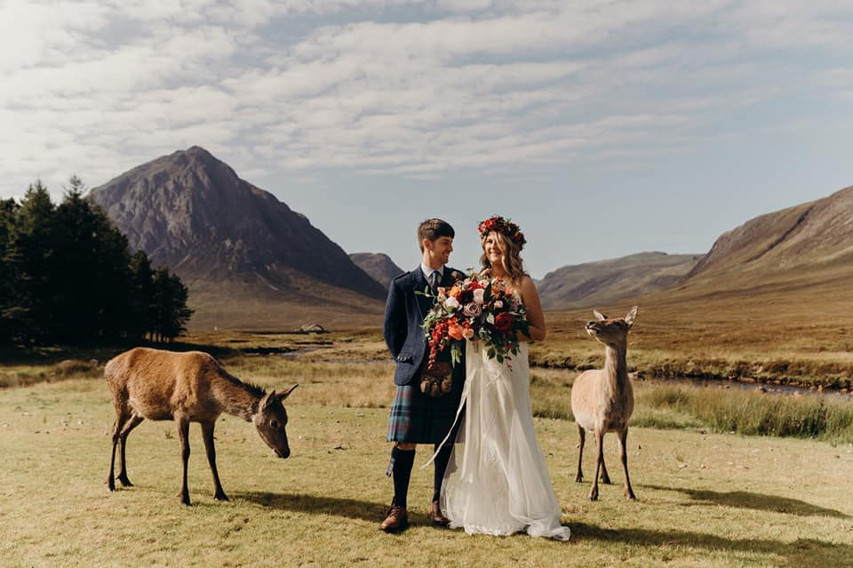 A wedding couple is standing in a valley next to goats in Glencoe.