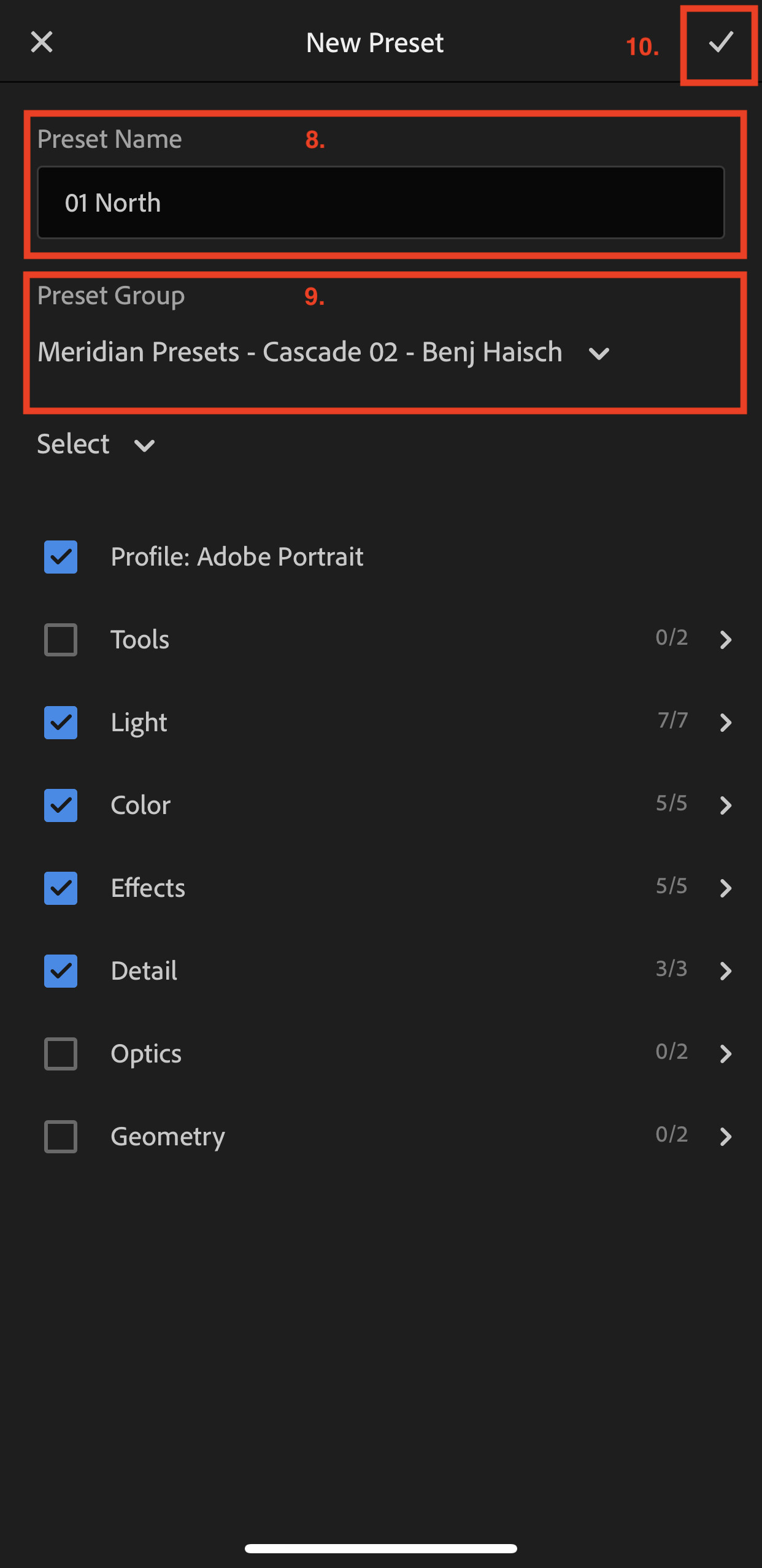 A list of detailed settings of presets in Lightroom Mobile