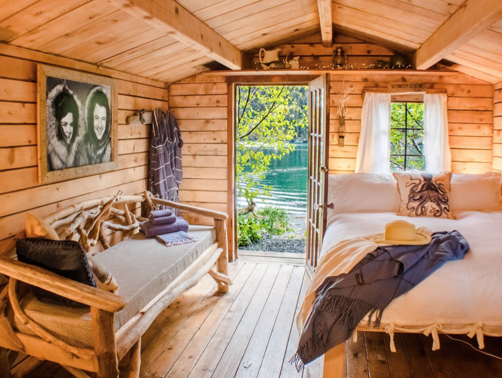 A cabin in the woods as an airbnb wedding venue.