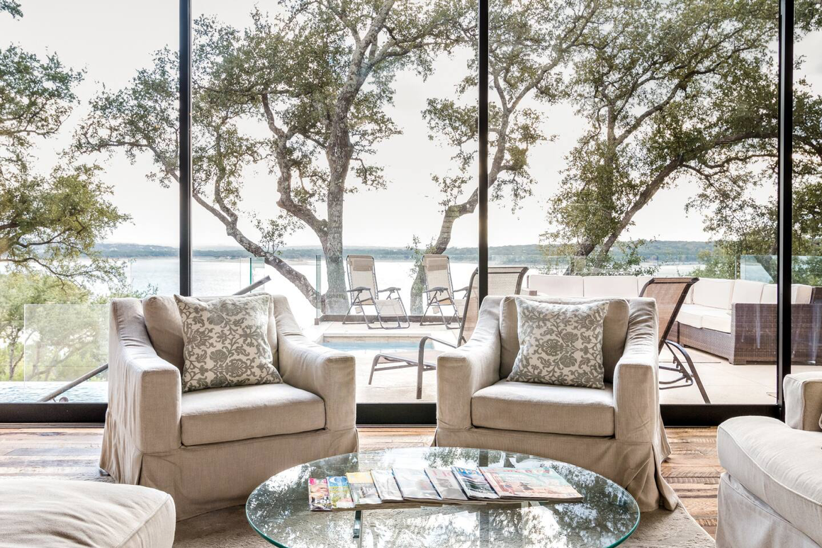 The beautiful Lake Travis Waterfront in located in Austin, Texas.