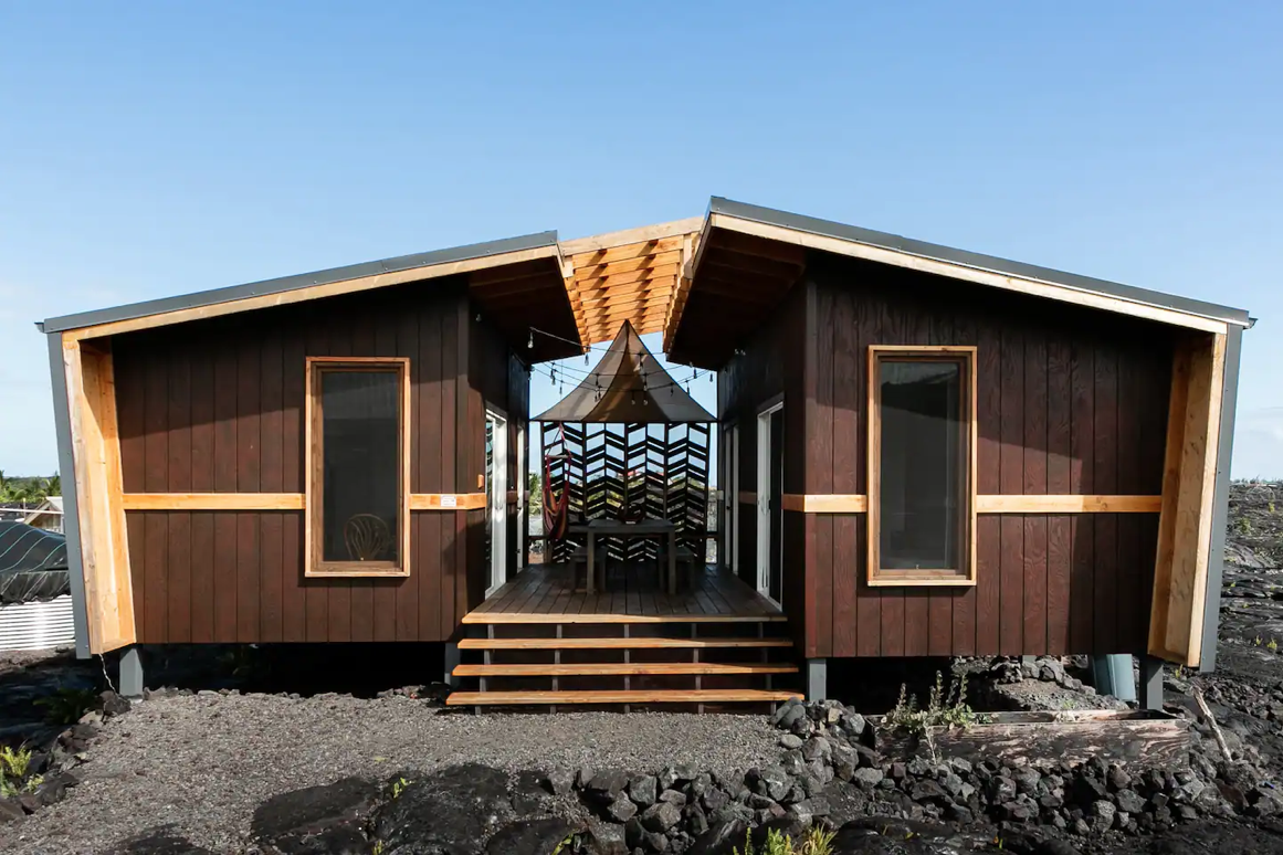 This tiny house is located on a volcanic lava field in Pahoa, Hawaii.