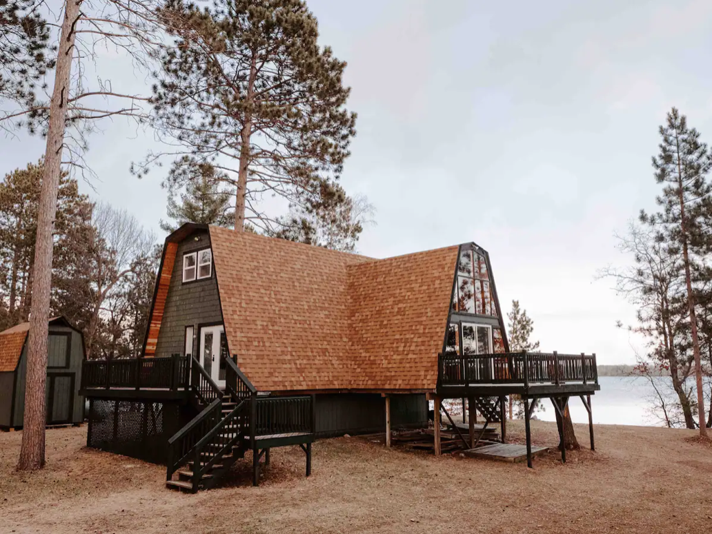 This Atlas A-frame is located at the Lake Adney in Crosby, Minnesota.