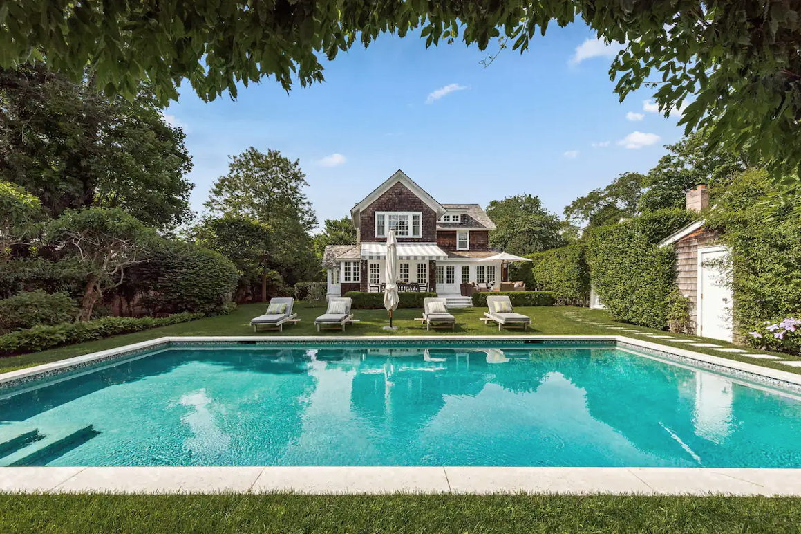 This Villa offers an outdoor pool and is an Airbnb wedding venue in Southampton, New York.