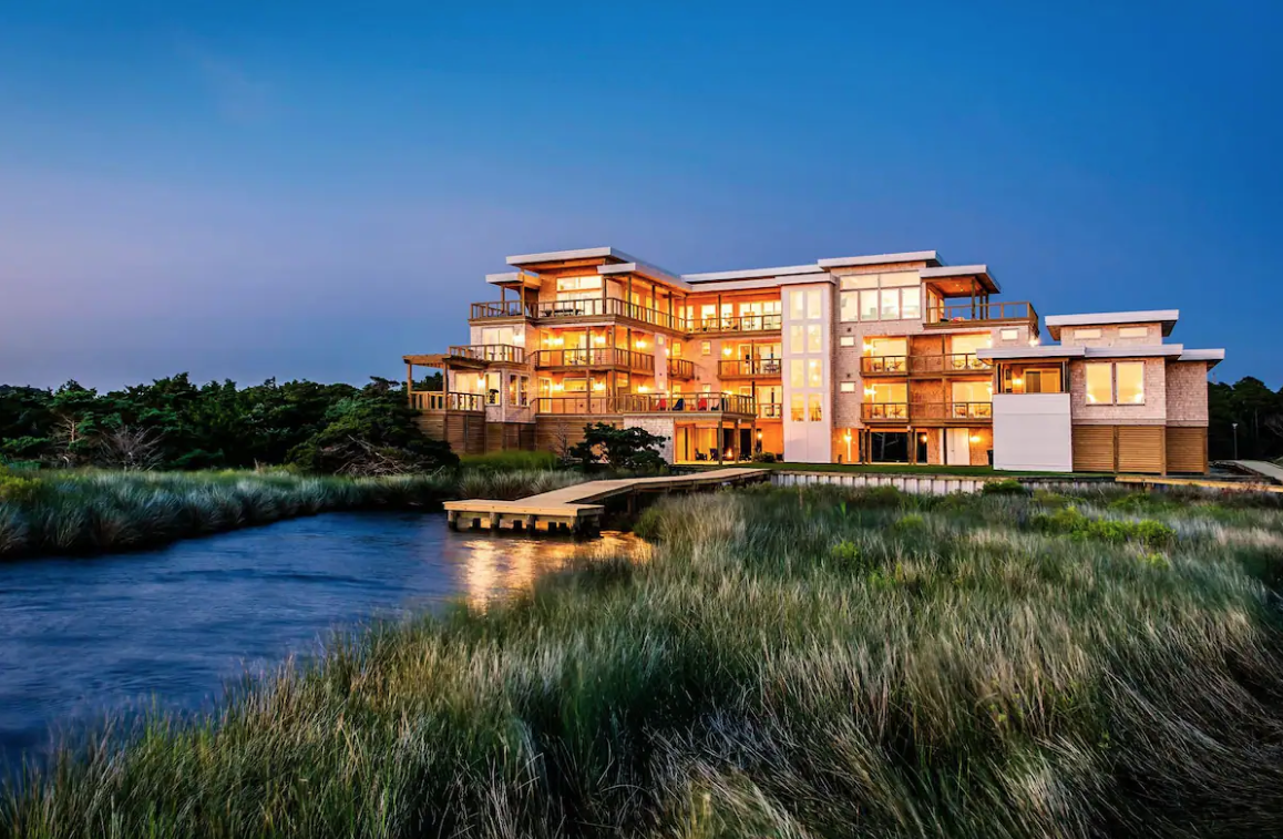 This luxury waterfront home is located in Kinnakeet, North Carolina.