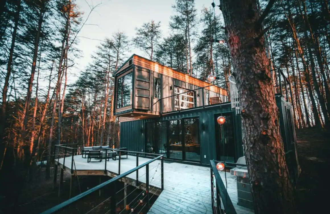 The Box Hop is located in Hocking Hills in the middle of a forest.