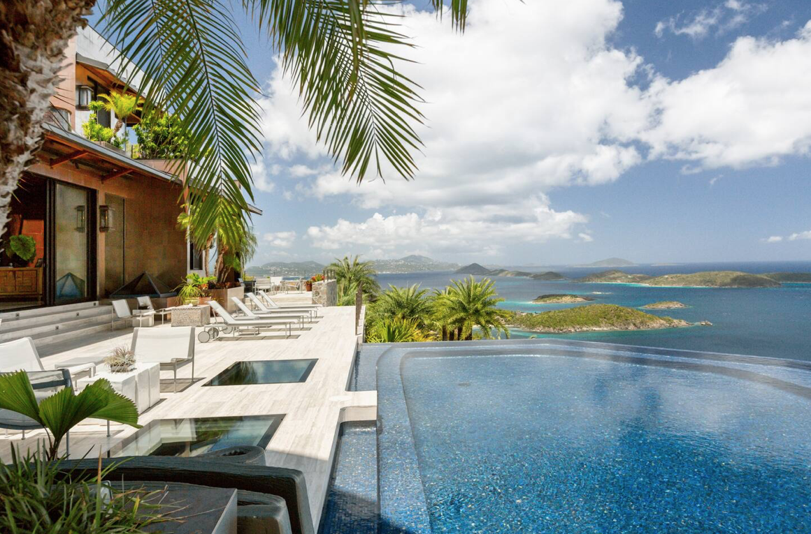 The Solenburg Villas feature outdoor swimming pools and are located on the Virgin Islands.