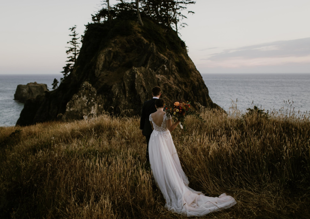 A wedding couple is walking towards a mountain with the ocean in the background.