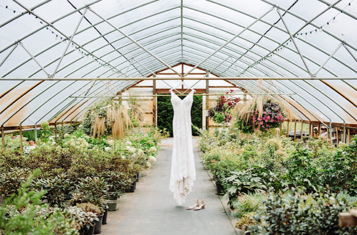 A wedding dress is hanging in a greenhouse.