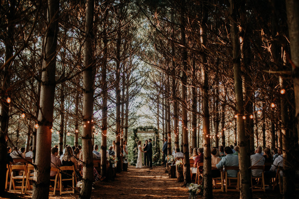 A wedding couple is getting married in the forest at the Orchard House in Granville, Ohio.