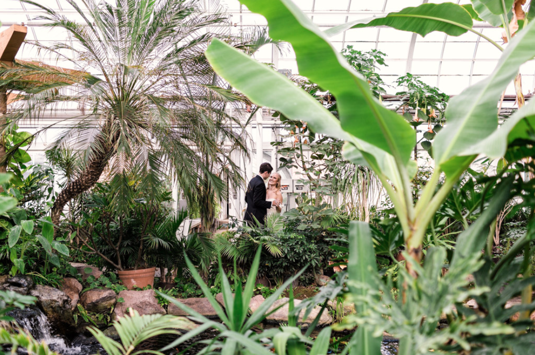 A wedding couple is holding each other and staniding in the Bird Haven Greenhouse in Illinois.