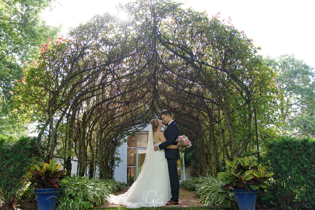 A wedding couple is holding each other and standing under a arched trees at the Wandering Tree Estate in Illinois.