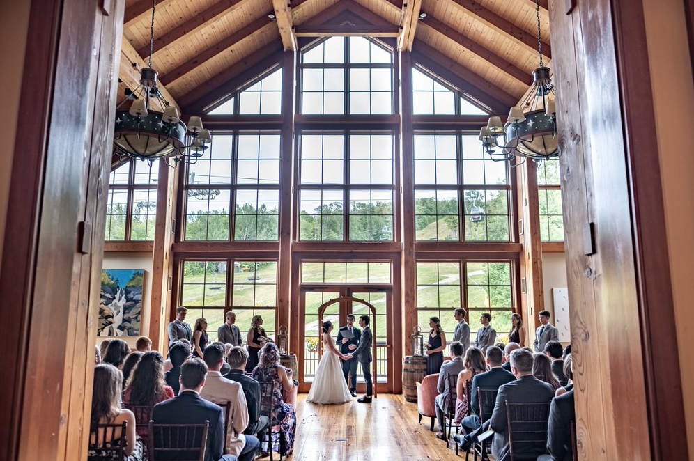 A wedding couple is getting married at the Stratton Mountain Resort in Vermont.