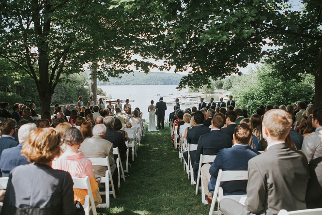 A wedding couple is getting married at Basin Harbor in Vermont.