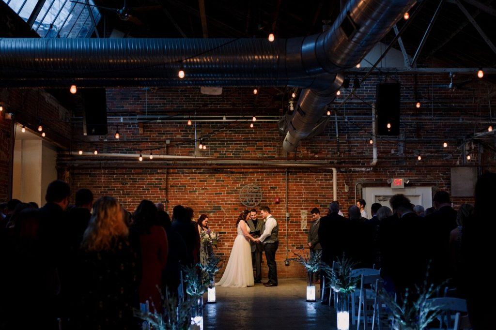 A wedding couple is getting married at Strongwater Events, one of the Columbus Ohio wedding venues.
