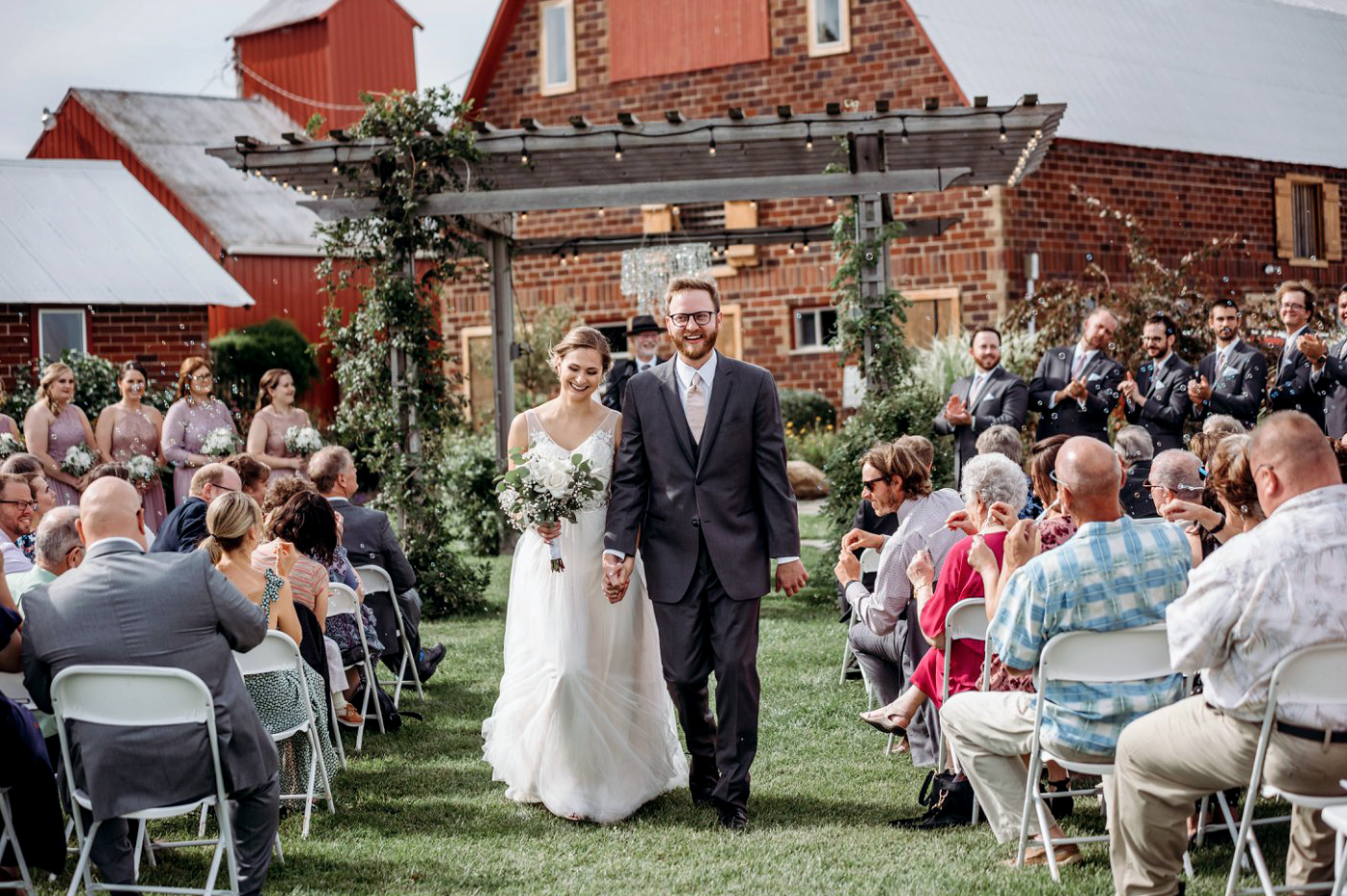 A wedding couple just got married at the Keller Brick Barn.
