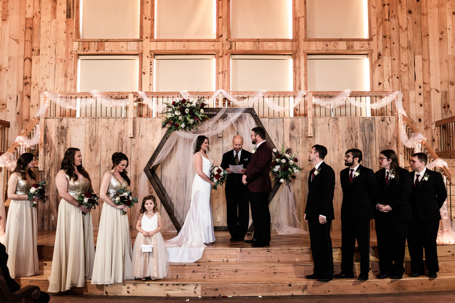 A wedding couple is getting married at the Three Sisters Barn in Iowa.