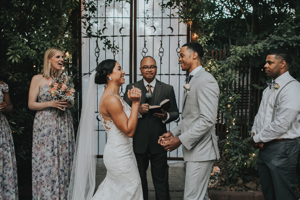 A wedding couple is getting married at Avant Garden, one of the wedding venue in Houston.