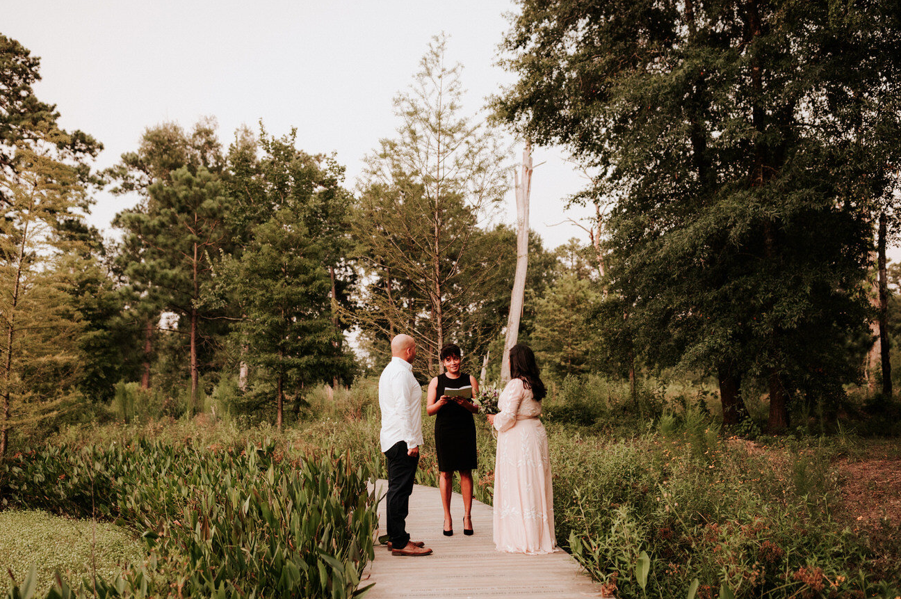 A wedding couple is getting married at the Houston Arboretum & Nature Center.